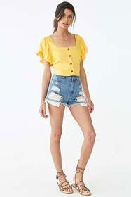 Forever21 Butterfly Sleeve Crop Top