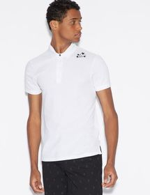 Armani POLO SHIRT WITH DESIGN ON SHOULDER