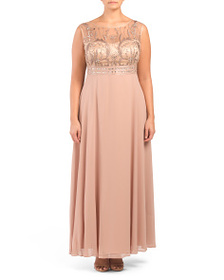 DECODE 1.8 Plus Embroidered Beaded Bodice Gown
