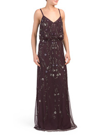 ADRIANNA PAPELL All Over Beaded Gown
