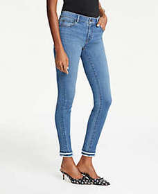 Frayed Performance Skinny Ankle Jeans in Bright Mi