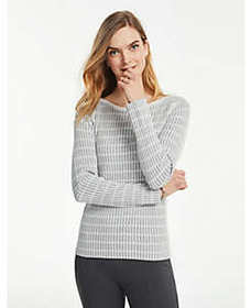 Plaid Fitted Boatneck Sweater