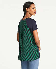 Mixed Media Back Pleat Tee