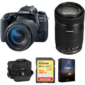 Canon EOS 77D DSLR Camera with 18-135mm USM and 55
