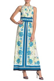 London Times Floral Pleated Sleeveless Maxi Dress