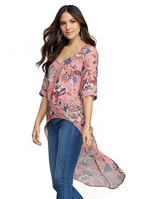 Floral Hi-Lo Blouse - Sweet Pea - New York & Compa