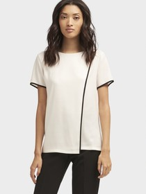 Donna Karan ASYMMETRICAL TOP WITH CONTRAST PIPING