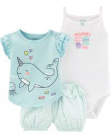 carters Baby Girl 3-Piece Narwhal Little Short Set