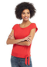 The Limited Cap Sleeve Banded Bottom Tie Top