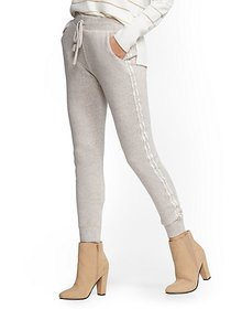 Embellished Trim Super-Soft Knit Slim Jogger Pant