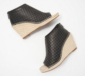 Vince Camuto Perforated Leather Peep-Toe Wedges -