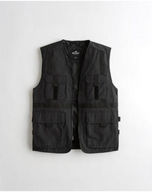 Hollister Full-Zip Utility Vest, BLACK