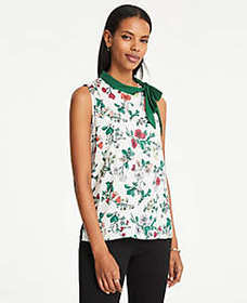 Floral Tie Neck Shell
