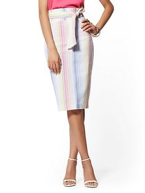 Multicolor Stripe Paperbag-Waist Pencil Skirt - 7t