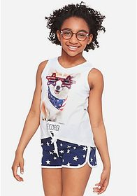 Justice Red, White & Blue Tie Front Tank
