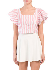 EBBY & I Juniors Striped Button Up Crop Top