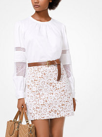 Michael Kors Cotton-Poplin and Lace Top