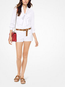 Michael Kors Crushed Crepe Tie-Neck Blouse