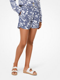 Michael Kors Mixed Floral Cady Pleated Shorts