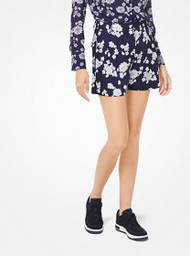 Michael Kors Floral Georgette Pleated Shorts