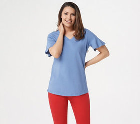 Studio by Denim & Co. V-Neck Top with Short Flutte
