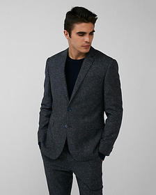 Express slim dark charcoal wool-blend suit jacket
