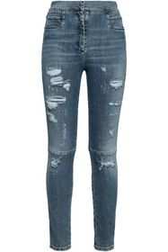 BALMAIN Distressed high-rise skinny jeans