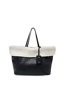 Steve Madden Carin Faux Fur Sherpa-Lined Tote BLAC