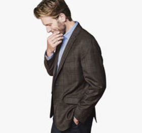 Johnston Murphy Grid Plaid Lightweight Wool Blazer