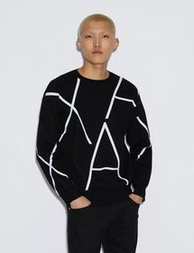 Armani PULLOVER WITH CONTRASTING LETTERING