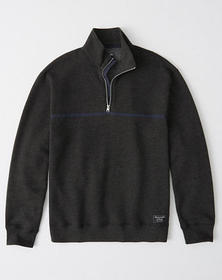 Relaxed Half-Zip Fleece Sweatshirt, DARK HEATHER G