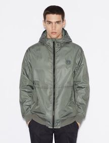 Armani HOODED JACKET AND KNITTED EDGING