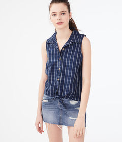 Aeropostale Checked Sleeveless Camp Shirt