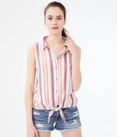 Aeropostale Striped Sleeveless Camp Shirt