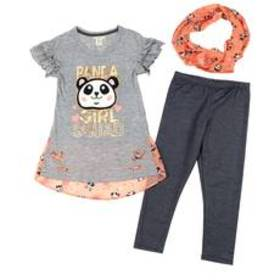 Girls (7-16) One Step Up 3pc. Panda Top Scarf & Le