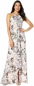 Calvin Klein Floral Beaded Neck Gown with Ruffle F