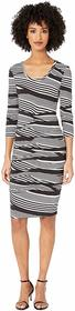 "Nicole Miller Wavy Stripe ""Dakota"" Tidal Pleat Dre"