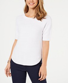 Charter Club Cotton Short-Sleeve Sweater, Created