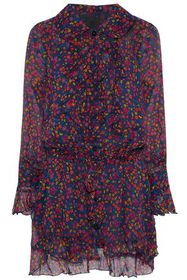 ANNA SUI Printed ruffled crepe de chine dress