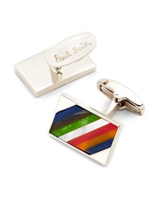 Paul Smith - Multi-Stripe Rectangular Cufflinks