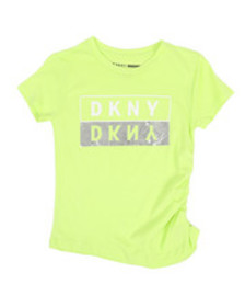 DKNY Jeans ruched side logo top (7-16)