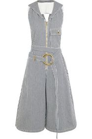 CHLOÉ Open-back belted striped cotton-twill jumpsu