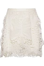 CHLOÉ Layered broderie anglaise linen-blend and tu