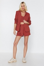 Nasty Gal Womens Brick red It's Your Line Pinstrip