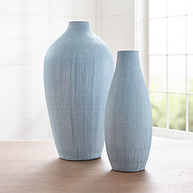 Crate Barrel New Annisa Light Blue Vases