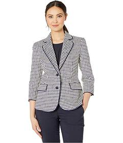 Anne Klein Two-Button Piped Jacket