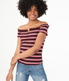 Aeropostale Seriously Soft Striped Off-The-Shoulde