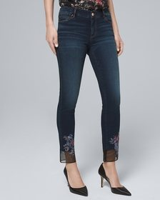Classic-Rise Embroidered-Hem Straight Crop Jeans
