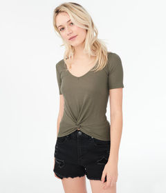 Aeropostale Seriously Soft Ribbed Twist-Front Top*