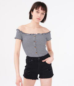 Aeropostale Seriously Soft Striped Buttoned Off-Th